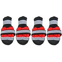 Formulaone Zapatos para Mascotas de Invierno Botas Reflectantes Impermeables Lluvia Antideslizante Botas para la Nieve Calzado Calcetines Gruesos y cálidos Botines para Gatos Perros - Rojo M