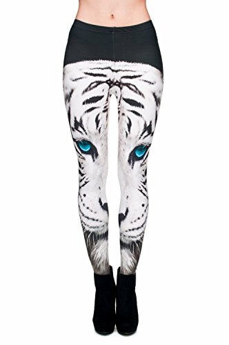 Kukubird Printed Patterns Women's Yoga Leggings Gym Fitness Running Pilates Tights Skinny Pants 8 to 12 Stretchable - White Tiger (Womens Tiger)