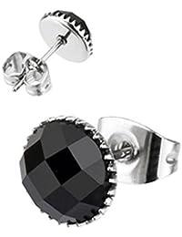 Paula & Fritz® 1 par Pendientes con redondo circonitas negras Gansta ...