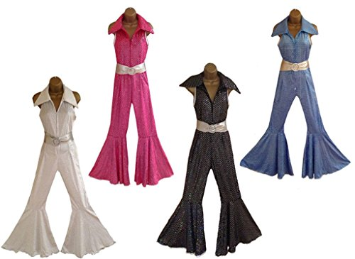70s Retro Jumpsuit in Four Colours. With Mega Bell Bottoms. Sizes 10 to 20.
