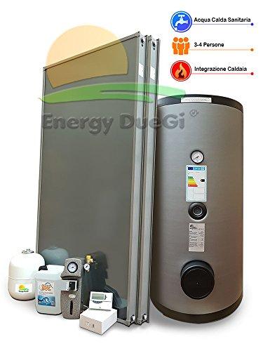Kit impianto solare termico circolazione forzata per produzione Acqua Calda Sanitaria, 3-4 persone, bollitore 300 litri, FKS (1, Impianto con bollitore doppiaserpentina)