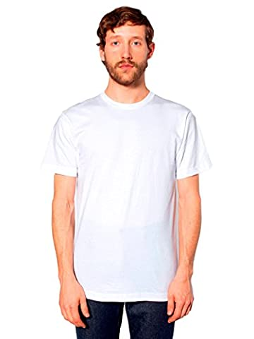 American Apparel Unisex Fine Jersey Short Sleeve T-Shirt, White, Large