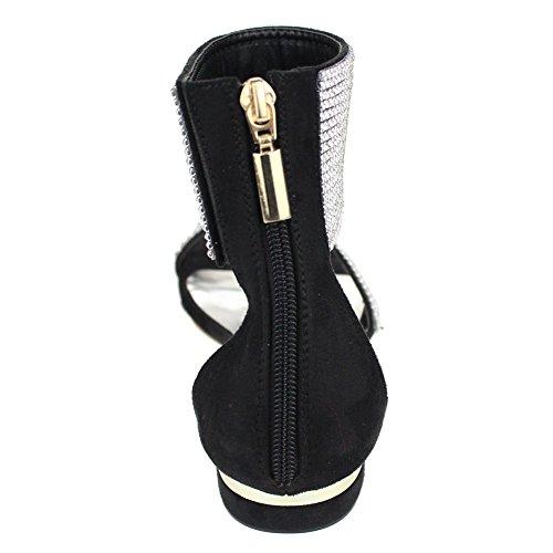 Aarz Frauen-Dame-Abend beiläufiger Komfort Wohnung Diamante Slipper Gladiator Sandale Schuh-Größe (Schwarz, Silber, Gold, Champagne) Schwarz