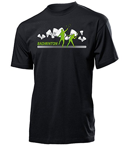 4448 Badminton Fan Sport Fanartikel Fanshirt Männer Turniershirt Sportbekleidung Geschenk für Herren T-Shirt Schwarz M