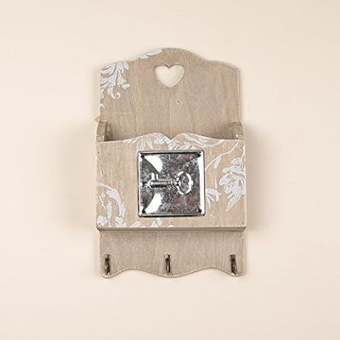 Dibor - Cassetta per lettere e chiavi a parete in stile vintage con cuore intagliato Dimensioni: 29,5 x 17,5 x 5,5 cm.