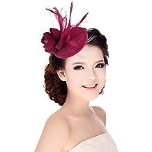 MARRYME Tocados de Pelo Fiesta Boda Mujer Sombrero con Plumas Diadema Flores Fucsia Oscuro