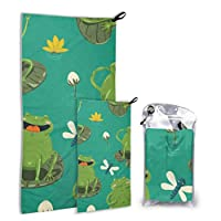 LIANGWE Cute Frogs And Dragonflies 2 Pack Microfiber Compact Towel Boy Towels Beach Set Fast Drying Best For Gym Travel Backpacking Yoga Fitnes