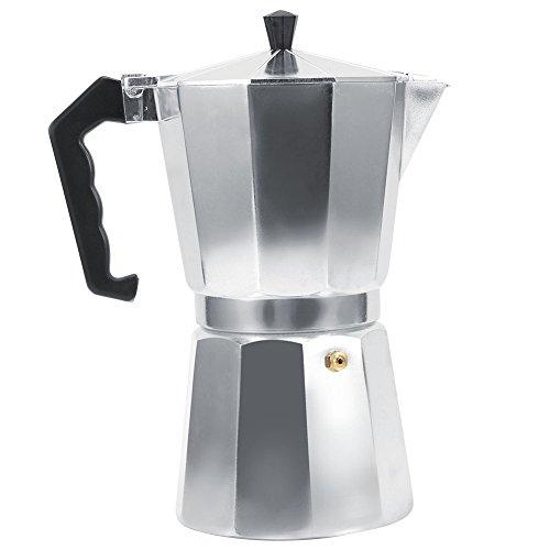 Italienischer Espressokocher Aluminium 3/6/9/12Tassen, silber, 600ML - Herd-kaffee-topf Auf
