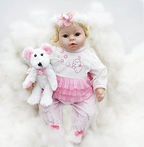 Pinky 22 Inch 55cm Soft Silicone Babies Reborn Baby Doll Cloth Body Blonde Hair Real Life Like Newborn Dolls Girl Toy Toddler