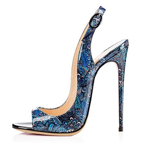 EDEFS Damen Öffnen Zehe Sandaletten Lack Stiletto Sommer Slingback Schuhe Blau EU42
