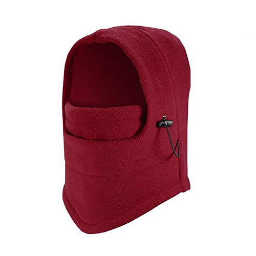 Windproof Balaclava - Warme dicke Balaclava / Fleece Sport Reiten Gesichtsmaske / einstellbare Anti-Kälte-Hut für Outdoor-Aktivitäten,Rot