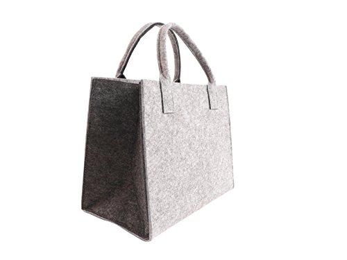 CB Home & Style Filztasche Einkaufstasche Tasche Shopper ca. 35 x 20 x 28 cm (Hellgrau-Anthrazit)
