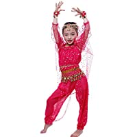 Astage Girl Belly Dance Sets Long Sleeve Top Pants Halloween Sets Hotpink M