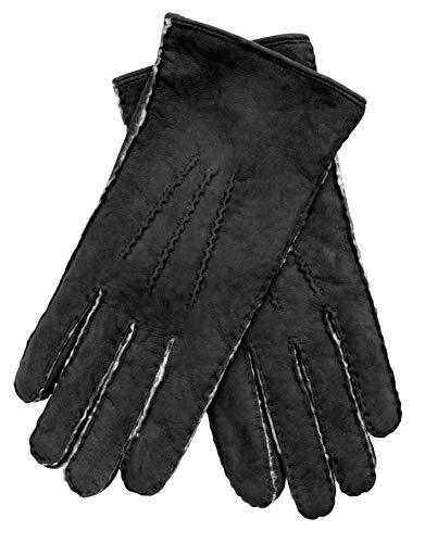EEM Handschuhe aus echtem Lammfell Lina für Damen, mit warmen Lammfell gefüttert, Schwarz M - 7