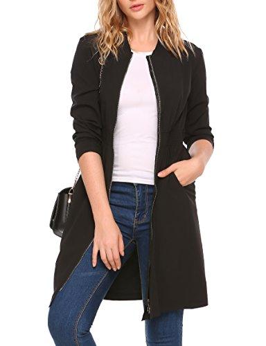 BeyoveDamen Dünner Mantel MantelkleidlangeJacke Elastizität Taille Vorne Reißverschluss CoatHerbst WinterFrühling