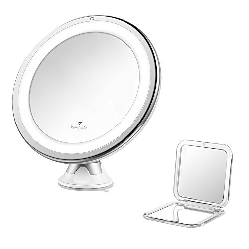 Jerrybox Vergrößerungsspiegel Beleuchteter Kosmetikspiegel Schminkspiegel Make Up Spiegel mit LED Beleuchtung (7 X Kreisförmiger Schminkspiegel)