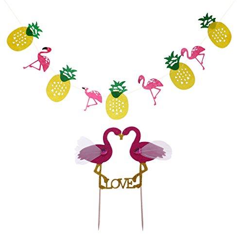 Gazechimp-1pc-Bandera-Colgando-Diseo-con-Pia-y-Flamingo-Decoracin-de-Fiesta-de-Fruta-de-Noche-1pc-Palillo-de-Torta-Decoracin-de-Boda-de-Pastel