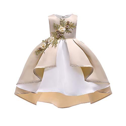 Sunday Babykleider Mädchen Kleider Festlich Partykleid Lang Prinzessin Kleider Elegant Bowknot Blumen Hochzeitskleid Outfit Kleinkind Kleidung Kleidung Geburtstag Geschenk (Khaki, 4-5Y) (Aus 4 Town Mädchen Halloween)