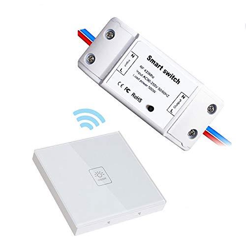 Wireless Smart Switch Switches Panel Home Touch-Schalter, Garagenschalter, Zubehör für Beleuchtung, Fühlen Sie sich frei, keine Verkabelung erforderlich Adapter TZZ (Farbe : Weiß-Single open) - Weiße Barriere Frei Barriere