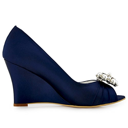 ElegantPark EP2009 Escarpins Femme Compense Satin Bout ouvert Chaussures de mariee mariage bal AE01 Bleu Marine