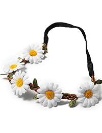 FUNOC Serre-têtes accessoire style bohême bandeau cheveux pour mariage couronne de fleurs