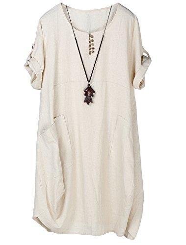 Lavnis Damen Leinen T-Shirt Tunika Kleid Rundhals Kurzarm Midi Kleid Beige M -