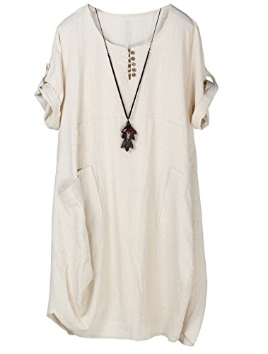 Top Tunika T-shirt Kleid (Lavnis Damen Leinen T-Shirt Tunika Kleid Rundhals Kurzarm Midi Kleid (L, Beige))