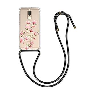 kwmobile Huawei Mate 10 Lite Hülle - mit Kordel zum Umhängen - Silikon Handy Schutzhülle für Huawei Mate 10 Lite - Magnolien Design Rosa Weiß Transparent