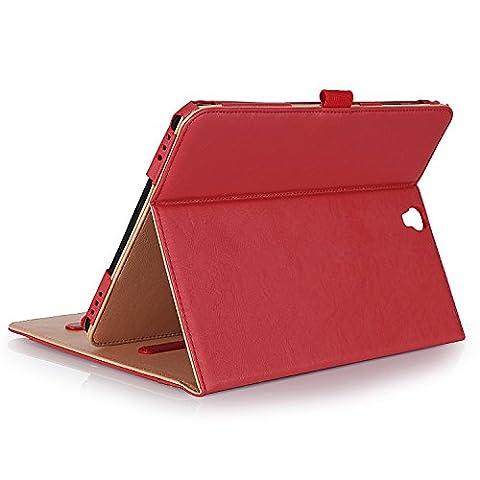 ProCase Samsung Galaxy Tab S3 9.7 Housse pour Galaxy Tab S3 Tablette (9.7 pouces, SM-T820 T825), avec plusieurs angles de visionnage, carte de documents Pocket -Rouge