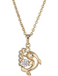 63fbbaf49251 Yazilind Collar Cadena cúbico colgante en cristal Zircon Twinkling Mujer  Elegante 18 K oro chapado joyas