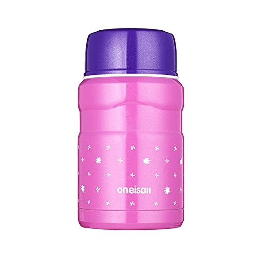 ONEISALL GYBL099 Stainless Steel Food Flask, Insulated Mini Food & Soup Thermal Flaskwith easy carry Lunch Bag and Foldable spoon, 500ML , 430G (Rose)
