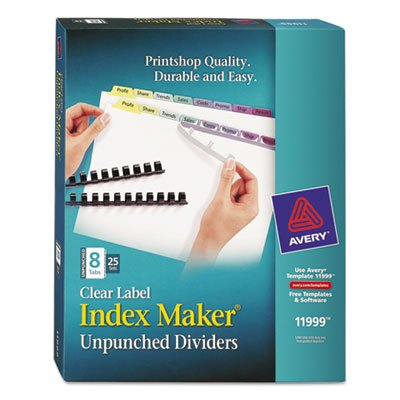 Index Maker Clear Label Contemporary Color Dividers, 8-Tab, 25 Sets/Pack, Sold as 1 Box