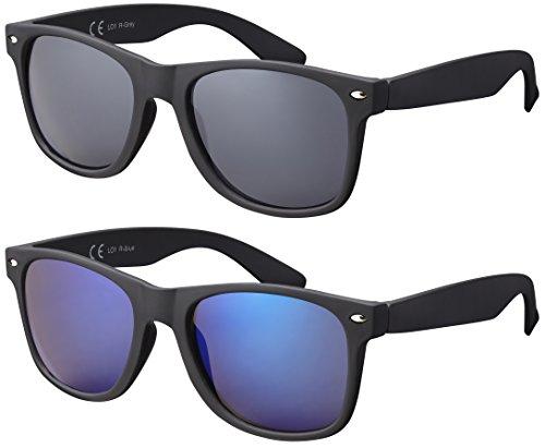Original La Optica UV400 Verspiegelt Unisex Retro Sonnenbrillen - Doppelpack Gummiert/Rubber Schwarz (Gläser: 1 x Grau, 1 x Blau verspiegelt) LO1 R-Grey/R-Blue