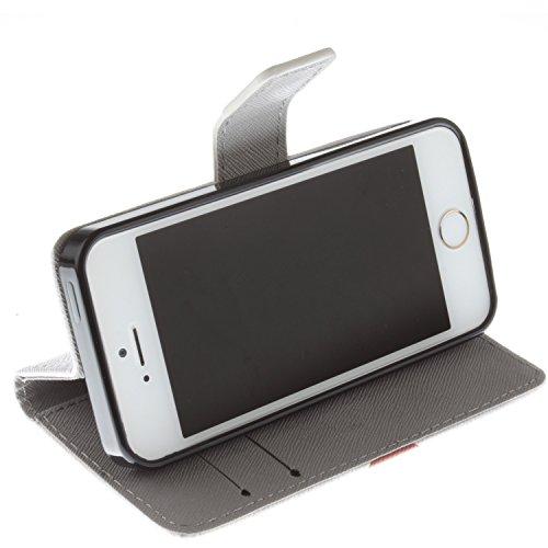 MOONCASE iPhone 5 Case Dessin Coloré Coque en Cuir Haute Qualité Portefeuille Housse de Protection Étui à rabat Case pour iPhone 5 5S -LK23 ST20