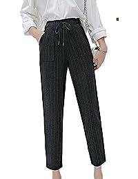 69c214c24a Foluton Donna Pantaloni Classici Dritti Elasticizzata Fiocco Pantaloni a Vita  Alta Estivi Taglie Forti Pantaloni Adatti
