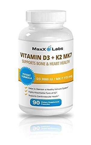 Vitamine K2 - Vitamin D3 with Vitamin K2 MK-7 ★