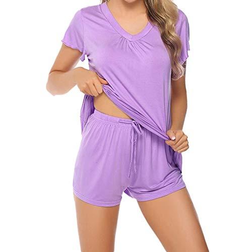 Bamboo Short Sleeve T-shirt (Wekdeg Damen Nachtwäsche Sets Bamboo Short Sleeve 2 Stück T-Shirt und Shorts Set)