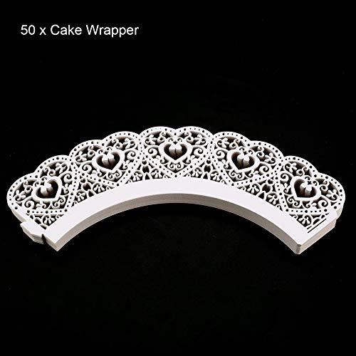 Mouchao 50pcs Laser Cut Cupcake Wrapper Hohlherzen Muffin Fall Hochzeitsfest Dekor
