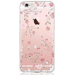 Oveo kompatibel mit iPhone 6 / 6S Hülle, Dolce Vita Serie Transparente Silikon Handyhülle Accessoires für Damen/Mädchen, Durchsichtig mit Rosa Rose Pink Blumen Muster