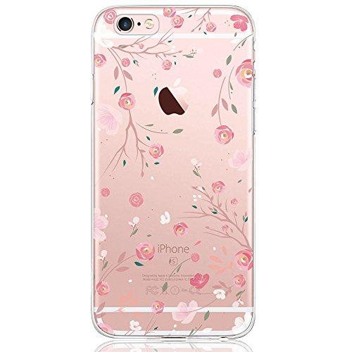 iPhone 6 / 6S Hülle, DAPP® Dolce Vita Serie Transparente Silikon Handyhülle für Damen / Mädchen, Durchsichtig mit Rose Blumen Muster (Ich Handy Sechs-zubehör)