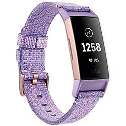 Fitbit Charge 3 Edición Especial - Pulsera avanzada de salud y actividad física,Textil Lavanda / Aluminio Color Oro Rosa