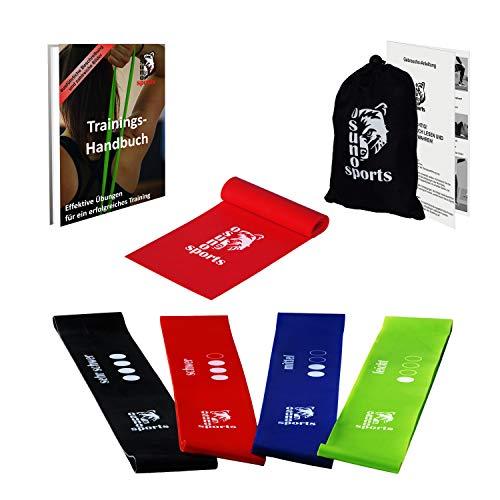 Osuno-Sports, 4 Widerstandsbänder und 1 Gymnastikband mit E-Book, Fitnessband-Set, Resistance-Loop, 5 Sport-Bänder, Anleitung auf Deutsch