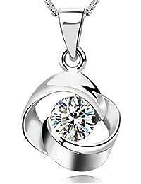 b06a9829a579 SJS Collection Esterlina chapada en Rodio. 1 Diamantes Circonita. 45cm  Cadena Ajustable Ondulada con