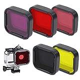 5 Pack Filtri Lente Immersione Rosso/Rosa/Viola/giallo/Grigio Filtro Obiettivo Immersioni Subacquee Migliora Colore per Varie Condizioni Subacquee Diving Lens Filter