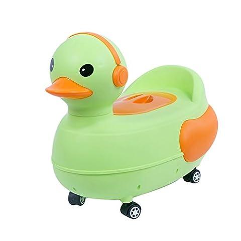 Cartoon Baby Fun Pot de formation de canard ( Color : Green+wheel )