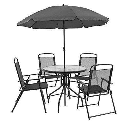 YUWEN 6 STÜCKE Patio Garten Set Möbel 4 Klappstühle Tisch mit Regenschirm Grau Neu -