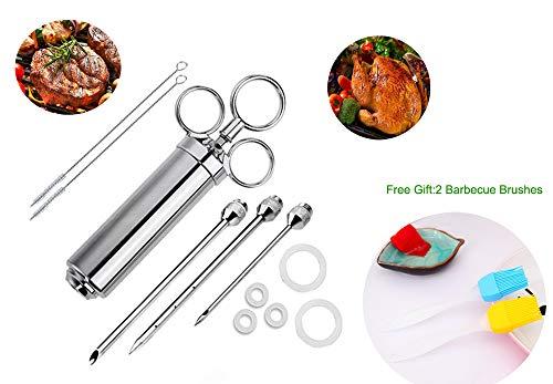 ch-Injektor mit 3 Nadeln, 304 Edelstahl BBQ Injektor, professionelles Lebensmittelspritze Kit mit 2 Bürsten für saubere und 4 Ersatz-O-Ringe, 2 Ölbürsten (60 ml) ()