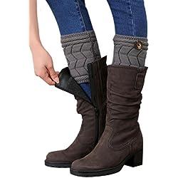 FEITONG Mujeres de invierno doble del cordón de Párrafo del escrito de la pierna Calentadores de arranque de la cubierta Calcetines (gris)