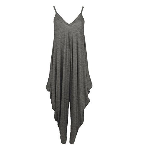 Desire Clothing lagenlook bretelles Sarouel Baggy Combinaison play-suit robe, noir, one size(8-26) charbon