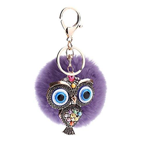 Cdet Llavero grande retro creativo del Hairball del buho de los ojos correa regalo púrpura